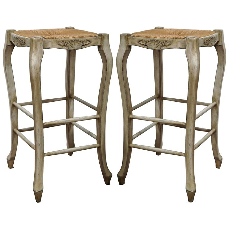 Pair Of French Louis Xv Carved Painted Bar Stools With Rush Seat At