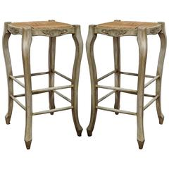 Pair of French Louis XV Carved Painted Bar Stools with Rush Seat