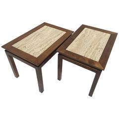 Pair of Mid-Century Travertine Marble and Wood Cal Mode Monteverdi Young Tables