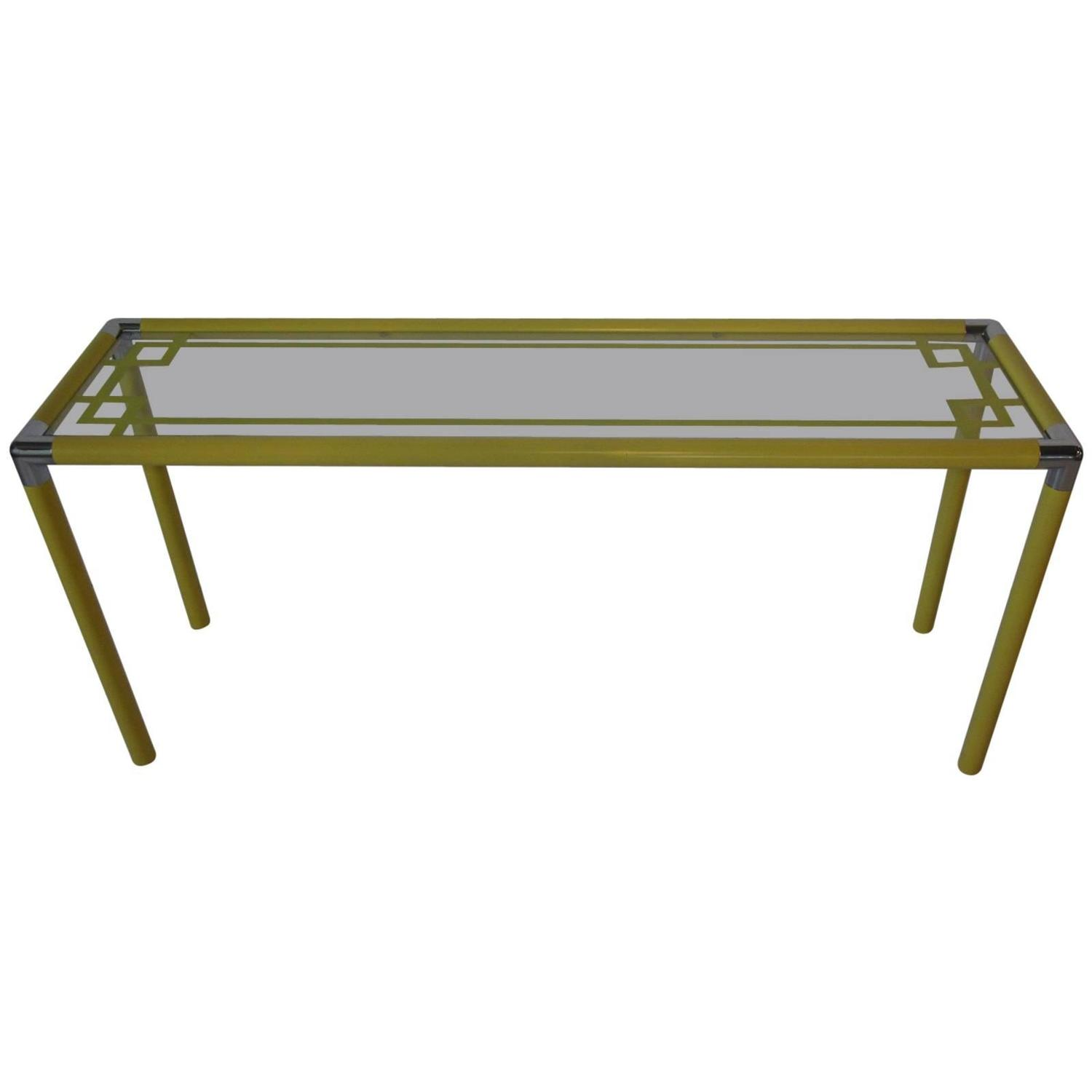 1970s yellow metal and glass console table at 1stdibs for Metal and glass console tables