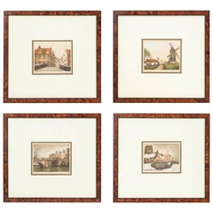 Set of Four Hand Colored Etchings