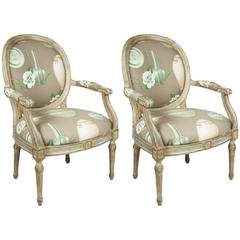 Pair of Louis XVI Style Oval-Back Armchairs