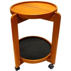 Danish Modern Solid Teak Removable Double Tray Caddy Cart Cocktail Table