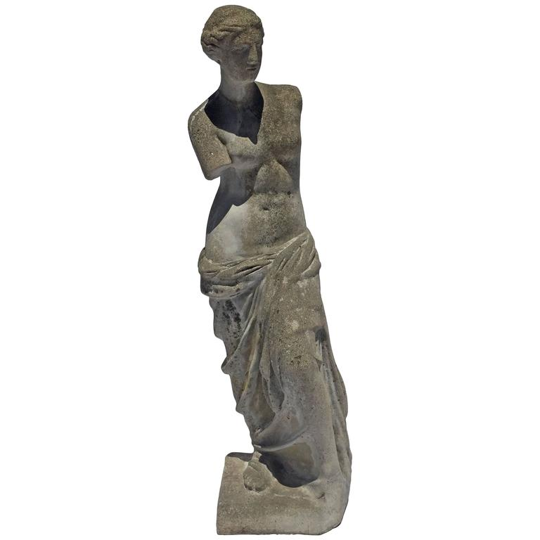 Early 20th Century Antique Venus Garden Statue In Cast