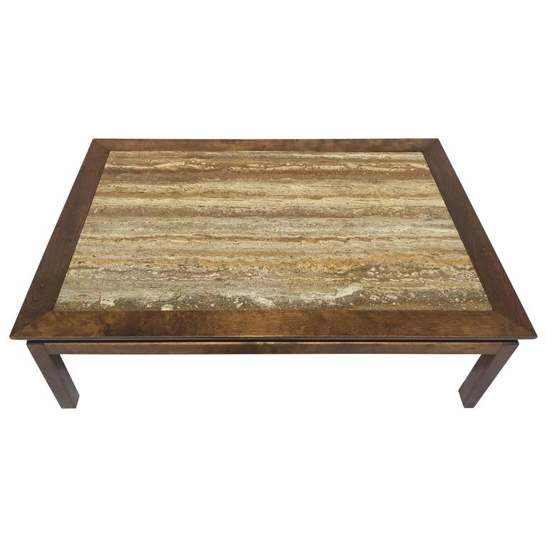Mid Century Modern Walnut Travertine Coffee Table: Mid-Century Cal Mode/Monteverdi Young Travertine Marble
