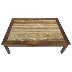 Mid-Century Cal Mode/Monteverdi Young Travertine Marble and Wood Coffee Table