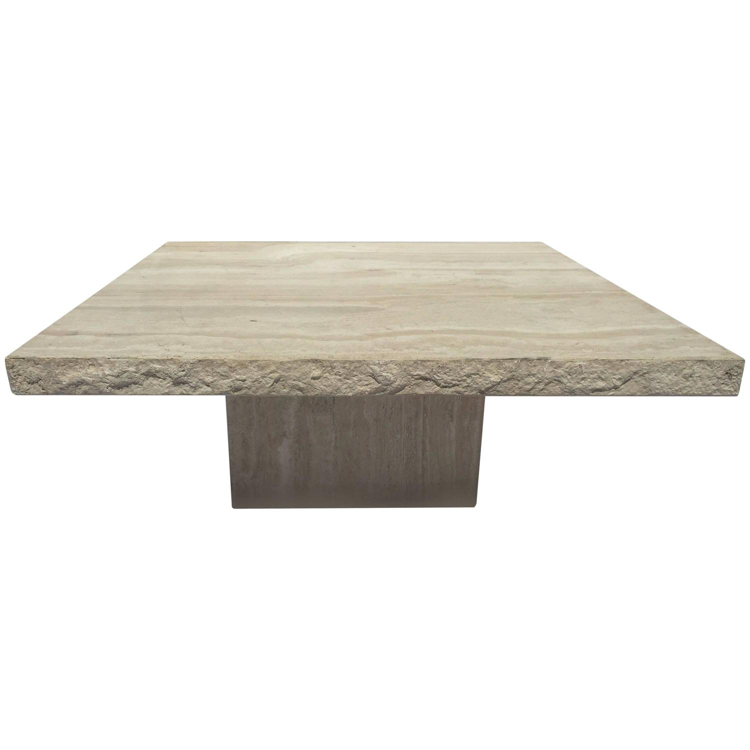 Monumentally Awesome Italian Travertine Marble Slab Coffee Table