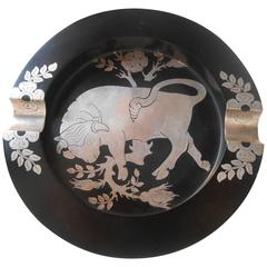 Unusual Raging Bull Cigar Resin and Sterling Intarsia Ashtray, 1950s Scandinavia
