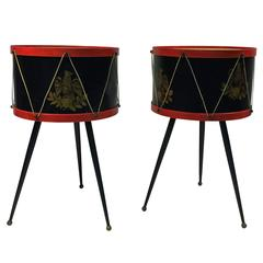Fantastic Pair of Drum Side Tables Attributed to Fornasetti