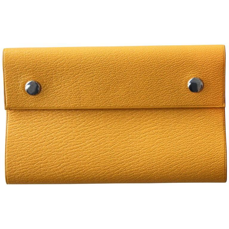 Hermès Yellow Leather Snap Folio