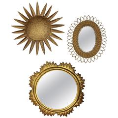 Set of Mid-Century Modern Gilt Sunburst Mirrors Wall Decoration