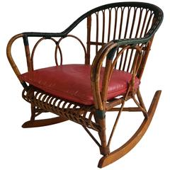 Unusual Stick Wicker, Split Reed Rocking Chair Ypsilanti Reed