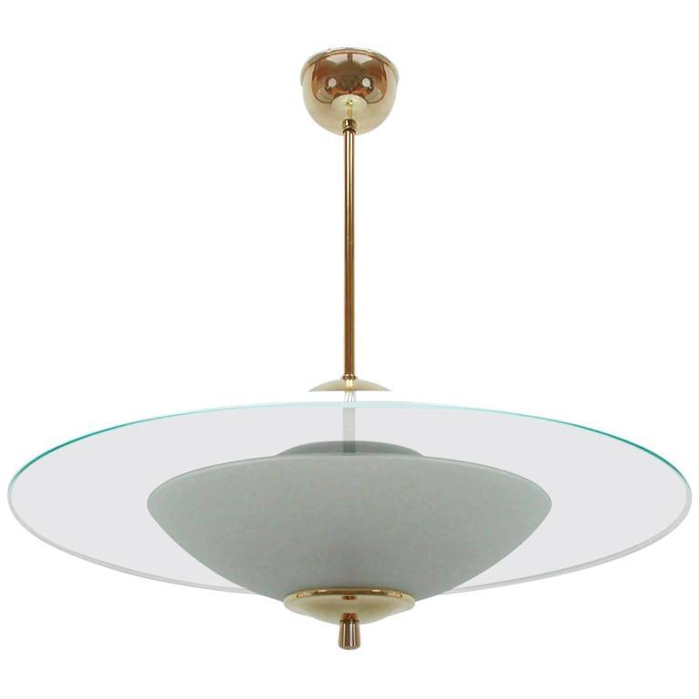 Mid-Century Italian 1950s Fontana Arte Style UFO Chandelier