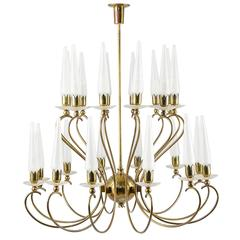 Large and Rare Angelo Lelli for Arredoluce Glass Candle Chandelier, 1950
