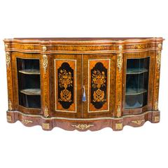 Antique Victorian Burr Walnut Marquetry Serpentine Credenza, circa 1860