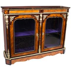 Antique Victorian Tulipwood and Kingwood Vitrine Cabinet, circa 1850