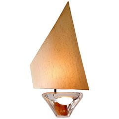 Sailboat Shaped Table Light by Daum, Signed and Labelled, France, 1950s