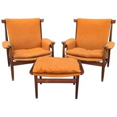 Early Pair of Finn Juhl Bwana Armchairs with Ottoman France and Sons