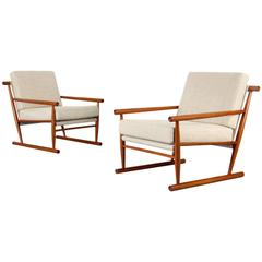 Set of Two Danish Teak Easy Chairs from the 1960s