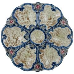 French Majolica Six-Well Oyster Plate with Red Star Fish Accents