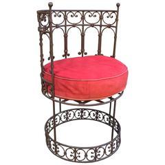 Oscar Bach Style Iron Barrel Back Chair