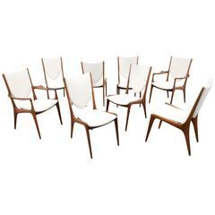 Vladimir Kagan Shield Back Dining Chairs, Set of Eight, circa 1960