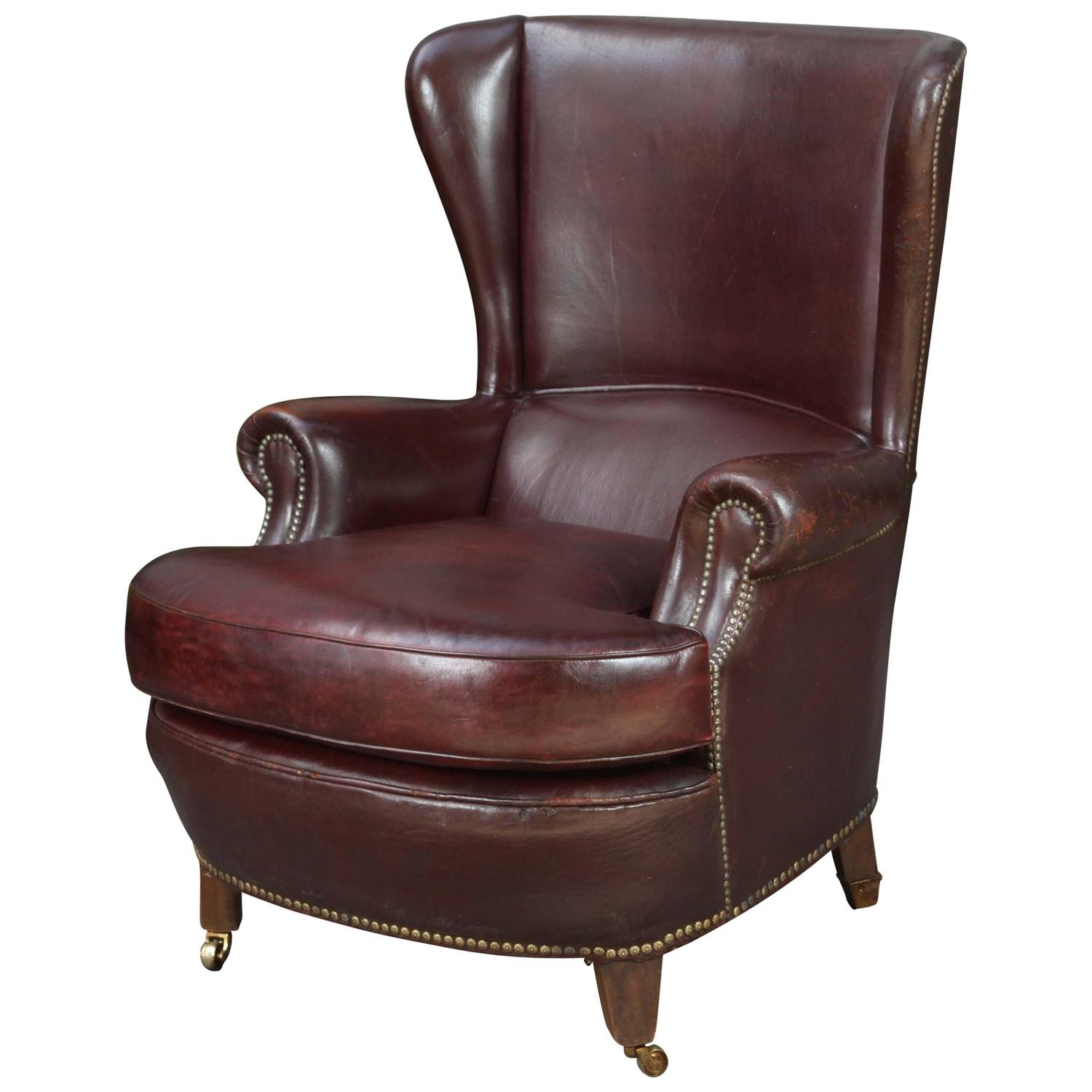 Leather wingback chair for sale at 1stdibs for Leather wingback recliner sale