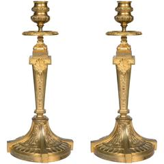 Pair of Gilt Bronze Louis XVI Candlesticks