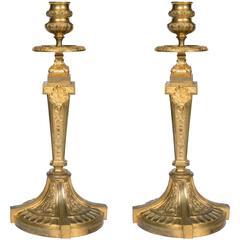 Pair of Gilt Bronze Louis XVI Candlesticks