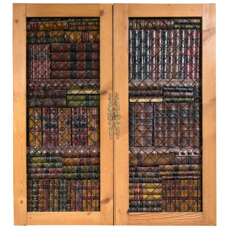 pair of faux book cabinet doors at 1stdibs