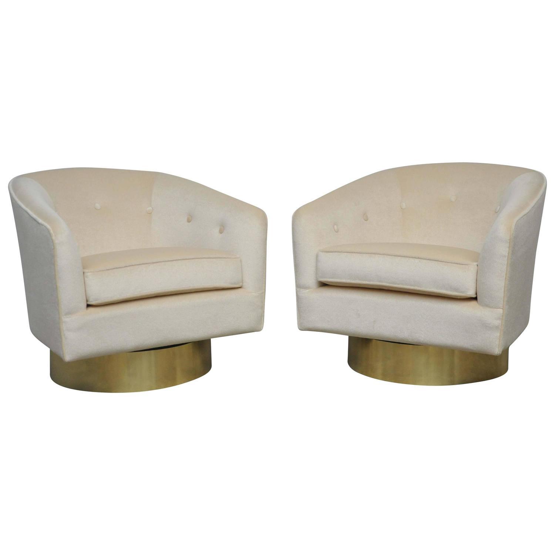 Milo Baughman Brass Base Swivel Chairs At 1stdibs