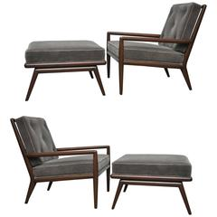 T.H. Robsjohn-Gibbings Lounge Chairs with Ottomans