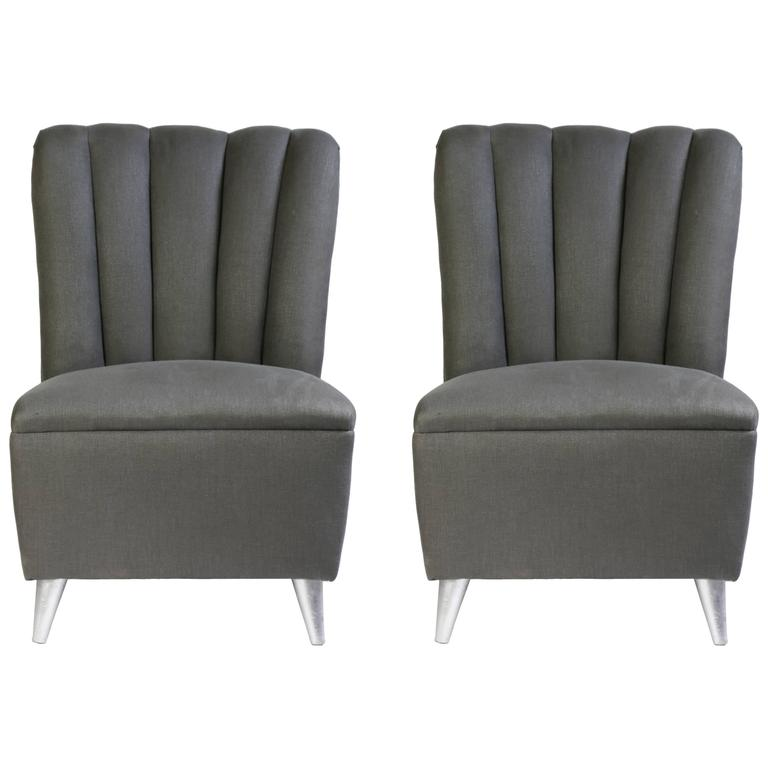 Pair of italian mid century upholstered small scale chairs for Small club chairs upholstered