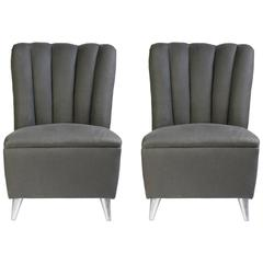 Pair of Italian Mid-Century Upholstered Small-Scale Chairs