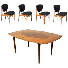 Danish Modern Dining Table and Four Chairs by Finn Juhl