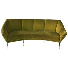 Vintage Green Velvet Geometrical-Shaped Italian Sofa