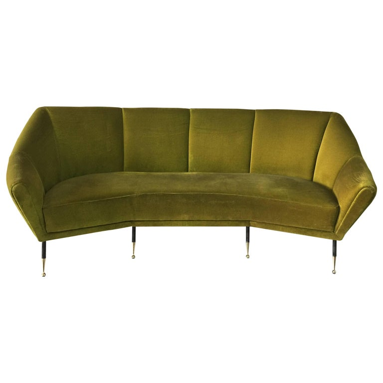 Vintage Green Velvet Geometrical Shaped Italian Sofa At 1stdibs