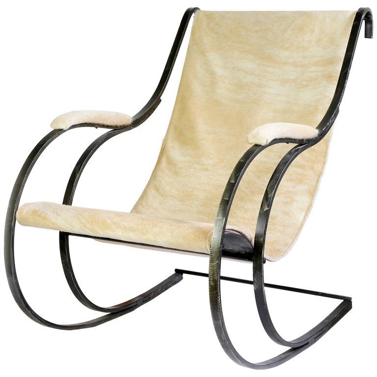 Steel Sling Chair In Cowhide For Sale
