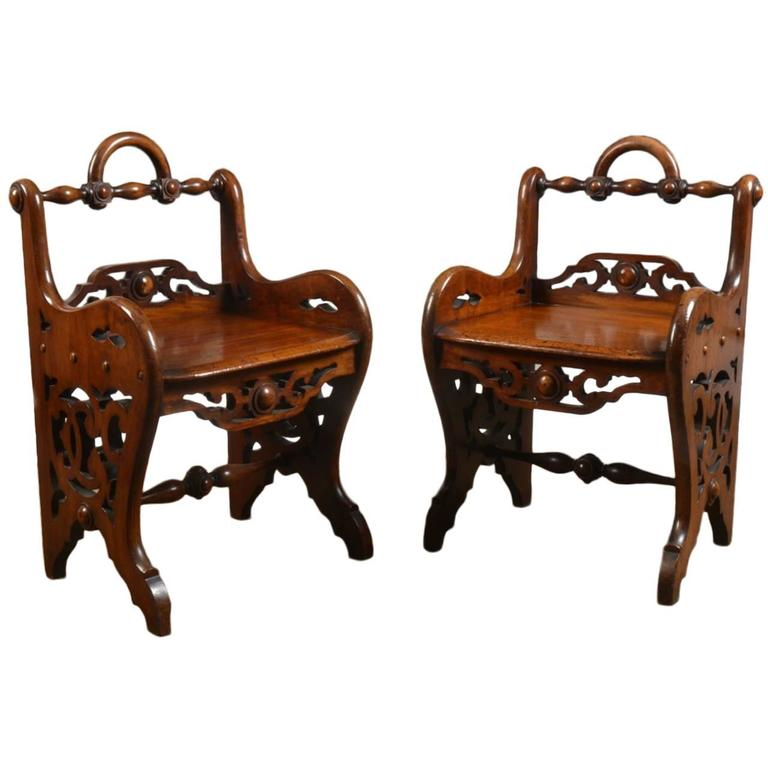 Pair of Early Victorian Mahogany Hall Chairs in the Manner of Richard Bridgens 1