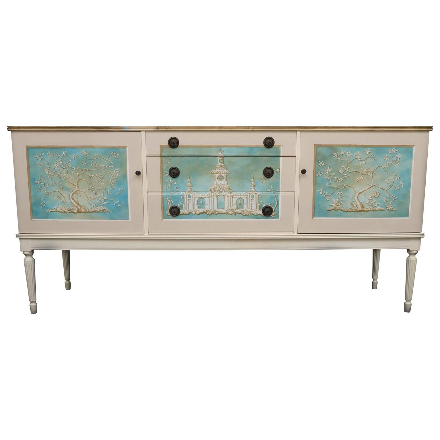 greaves thomas mid century british sideboard hand painted by kensa designs for sale at 1stdibs. Black Bedroom Furniture Sets. Home Design Ideas