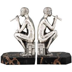 Art Deco Silvered Bronze Nude Bookends by Scribe, 1930 France