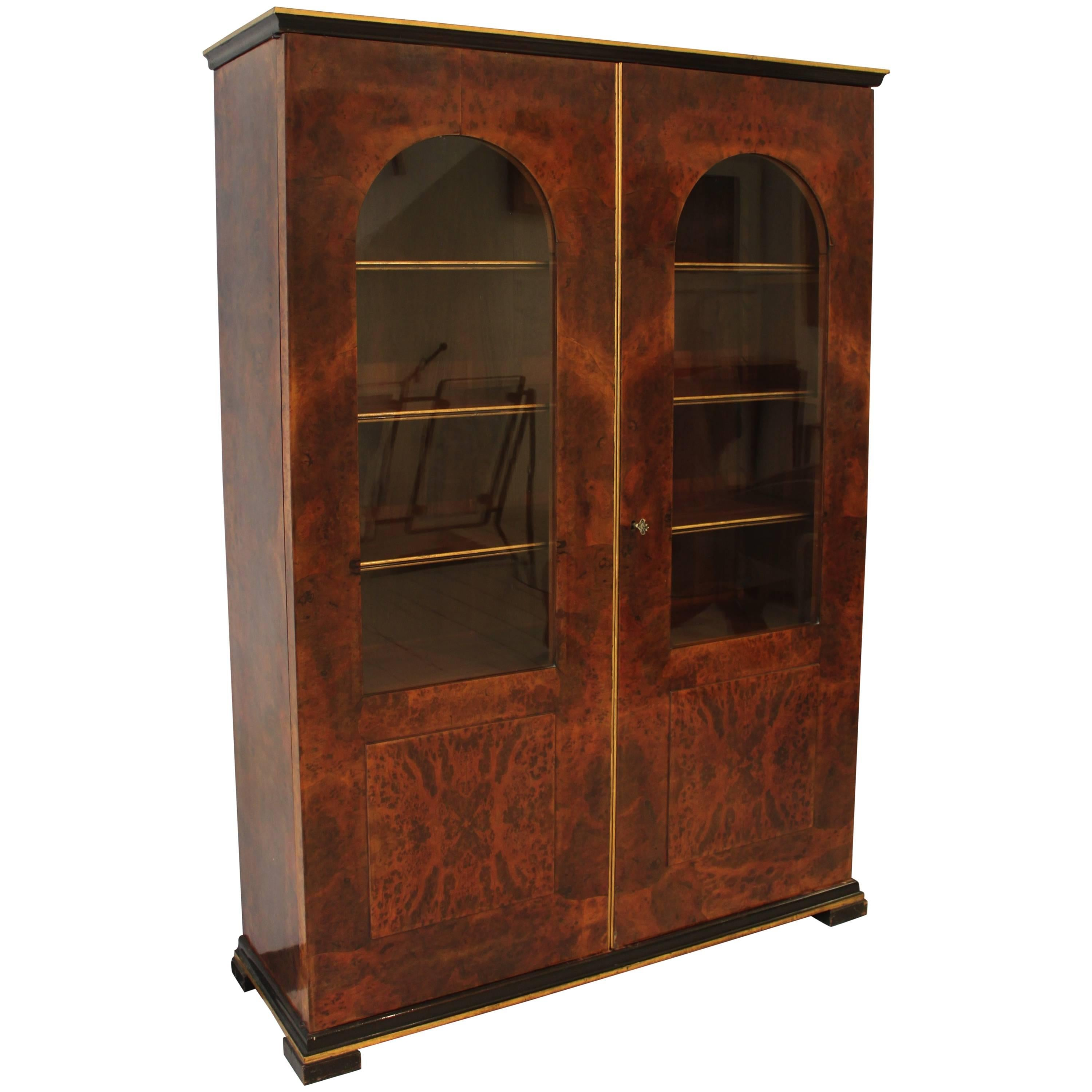 A Beautiful French Empire Bibliotheque Cabinet With Grill Doors For