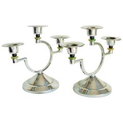 Pair of English Art Deco Chrome and Bakelite Asymmetrical Triple Candleholders