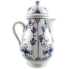 Antique German Blue Fluted Mocha Jug in Porcelain, 19th Century