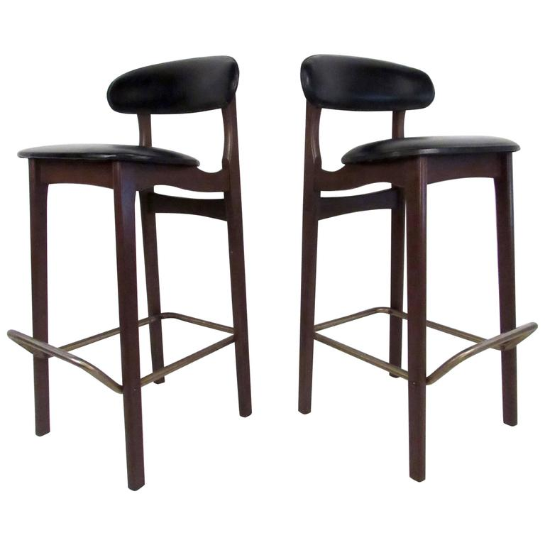 Two Mid Century Walnut And Vinyl Stools For Sale At 1stdibs