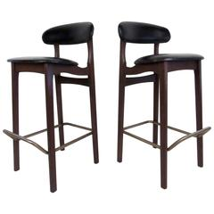 Two Mid-Century Walnut and Vinyl Stools