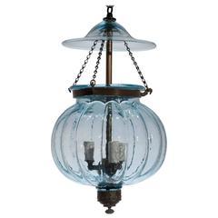 19th Century Blue Melon Bell Jar Lantern