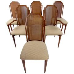 Six Mid-Century Cane Back Dining Room Chairs