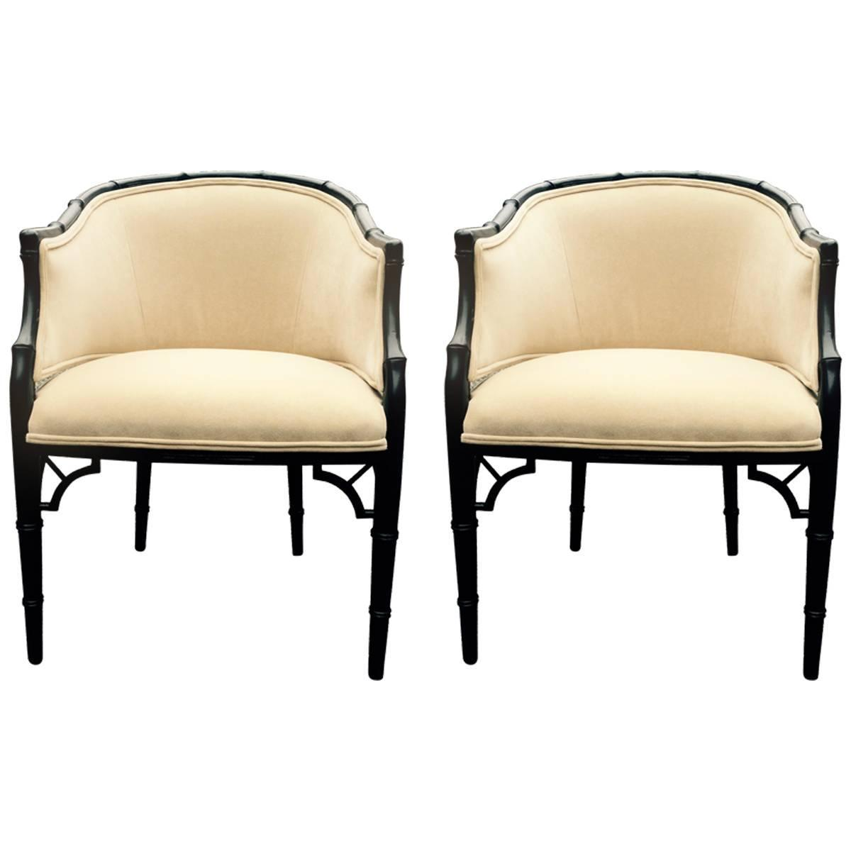 Pair Of Stylish Ebonized Faux Bamboo Chairs At 1stdibs