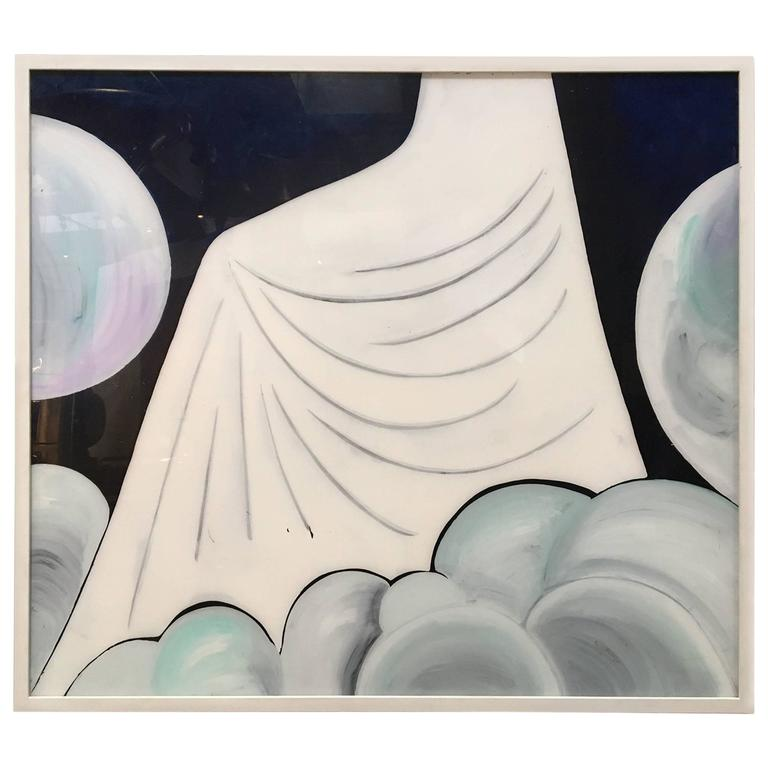 Gio Ponti a Decorative Panel Hand-Painted in Acrylic on Perspex